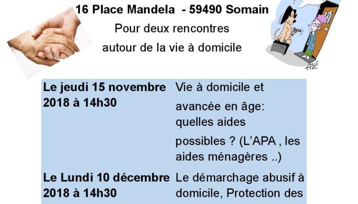 Somain – Résidence Autonomie – 2  Ateliers Vie à Domicile les 15 novembre et 10 décembre 2018