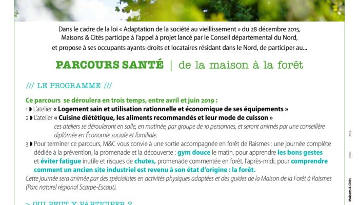 Maisons et Cités proposent à leurs locataires Séniors, le Parcours Santé – à compter d'avril 2019